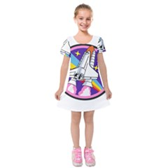 Badge Patch Pink Rainbow Rocket Kids  Short Sleeve Velvet Dress by Amaryn4rt