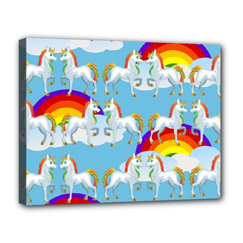 Rainbow Pony  Canvas 14  X 11  by Valentinaart
