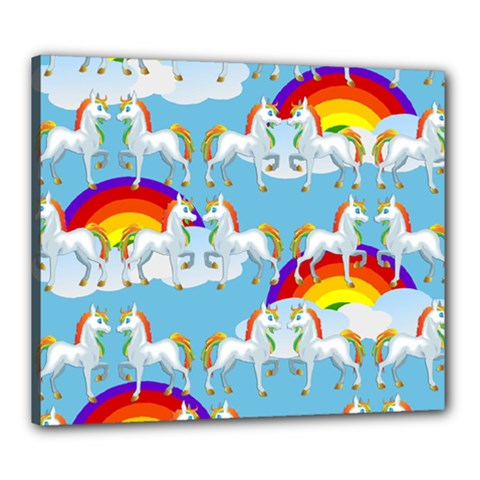 Rainbow Pony  Canvas 24  X 20  by Valentinaart