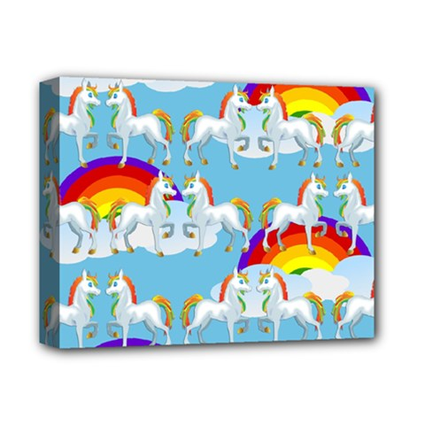 Rainbow Pony  Deluxe Canvas 14  X 11  by Valentinaart