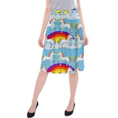 Rainbow Pony  Midi Beach Skirt by Valentinaart