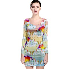 Rainbow Pony  Long Sleeve Bodycon Dress by Valentinaart