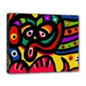 A Seamless Crazy Face Doodle Pattern Deluxe Canvas 20  x 16   View1