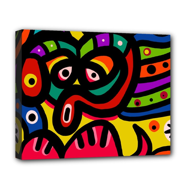 A Seamless Crazy Face Doodle Pattern Deluxe Canvas 20  x 16