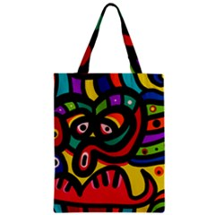 A Seamless Crazy Face Doodle Pattern Zipper Classic Tote Bag by Amaryn4rt