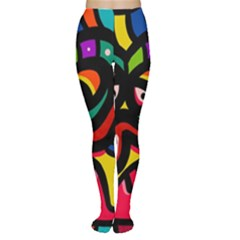 A Seamless Crazy Face Doodle Pattern Women s Tights