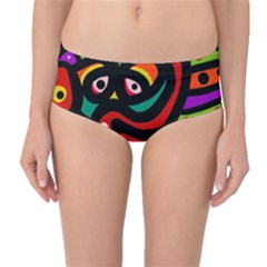 A Seamless Crazy Face Doodle Pattern Mid-waist Bikini Bottoms by Amaryn4rt