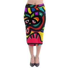 A Seamless Crazy Face Doodle Pattern Midi Pencil Skirt by Amaryn4rt