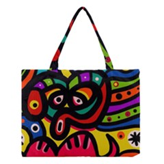 A Seamless Crazy Face Doodle Pattern Medium Tote Bag by Amaryn4rt