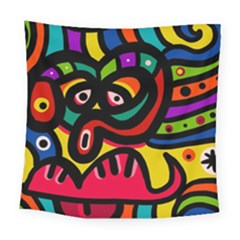 A Seamless Crazy Face Doodle Pattern Square Tapestry (large) by Amaryn4rt