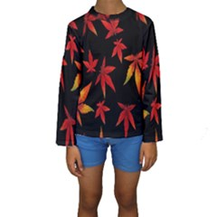 Colorful Autumn Leaves On Black Background Kids  Long Sleeve Swimwear by Amaryn4rt