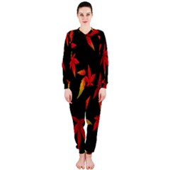 Colorful Autumn Leaves On Black Background Onepiece Jumpsuit (ladies)  by Amaryn4rt