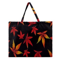 Colorful Autumn Leaves On Black Background Zipper Large Tote Bag