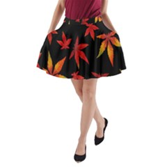 Colorful Autumn Leaves On Black Background A Line Pocket Skirt