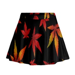 Colorful Autumn Leaves On Black Background Mini Flare Skirt by Amaryn4rt