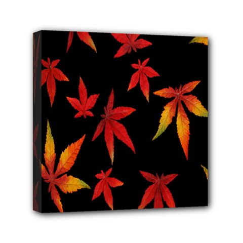 Colorful Autumn Leaves On Black Background Mini Canvas 6  X 6