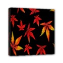 Colorful Autumn Leaves On Black Background Mini Canvas 6  x 6  View1
