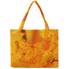 Bright Yellow Autumn Leaves Mini Tote Bag by Amaryn4rt