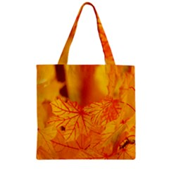 Bright Yellow Autumn Leaves Zipper Grocery Tote Bag by Amaryn4rt