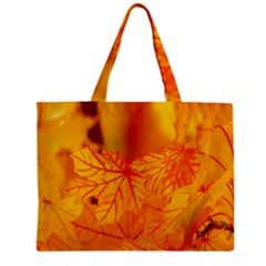 Bright Yellow Autumn Leaves Zipper Mini Tote Bag by Amaryn4rt