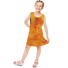 Bright Yellow Autumn Leaves Kids  Tunic Dress by Amaryn4rt