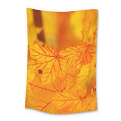 Bright Yellow Autumn Leaves Small Tapestry