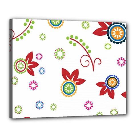 Colorful Floral Wallpaper Background Pattern Canvas 20  X 16