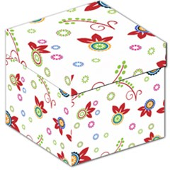 Colorful Floral Wallpaper Background Pattern Storage Stool 12   by Amaryn4rt