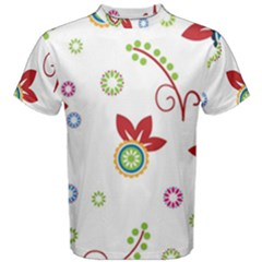 Colorful Floral Wallpaper Background Pattern Men s Cotton Tee