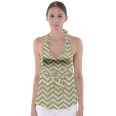 Abstract Vintage Lines Babydoll Tankini Top by Amaryn4rt