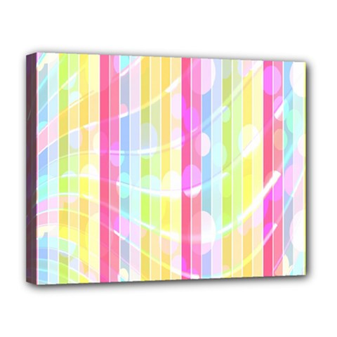 Colorful Abstract Stripes Circles And Waves Wallpaper Background Canvas 14  X 11  by Amaryn4rt