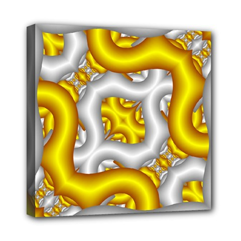 Fractal Background With Golden And Silver Pipes Mini Canvas 8  X 8  by Amaryn4rt