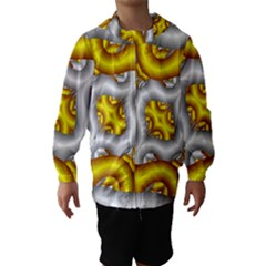Fractal Background With Golden And Silver Pipes Hooded Wind Breaker (kids) by Amaryn4rt