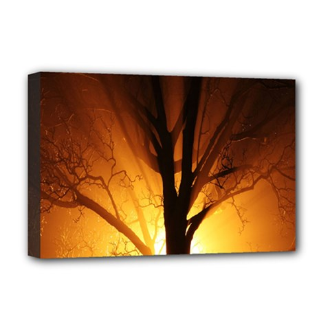 Rays Of Light Tree In Fog At Night Deluxe Canvas 18  X 12   by Amaryn4rt