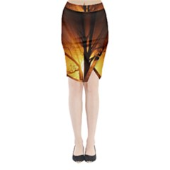 Rays Of Light Tree In Fog At Night Midi Wrap Pencil Skirt