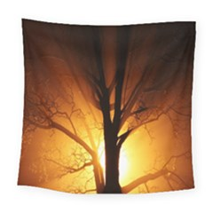 Rays Of Light Tree In Fog At Night Square Tapestry (large) by Amaryn4rt