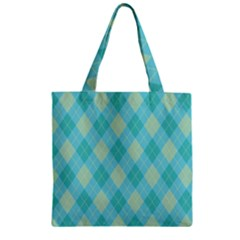 Plaid Pattern Zipper Grocery Tote Bag by Valentinaart