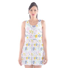 Vintage Spring Flower Pattern  Scoop Neck Skater Dress by TastefulDesigns