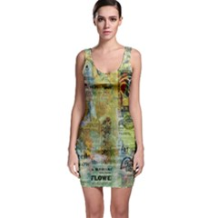 Old Newspaper And Gold Acryl Painting Collage Sleeveless Bodycon Dress by EDDArt