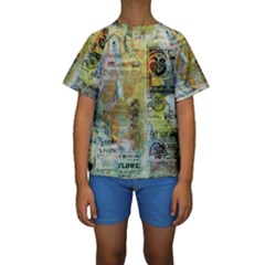 Old Newspaper And Gold Acryl Painting Collage Kids  Short Sleeve Swimwear by EDDArt