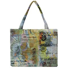 Old Newspaper And Gold Acryl Painting Collage Mini Tote Bag by EDDArt