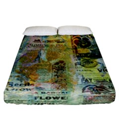 Old Newspaper And Gold Acryl Painting Collage Fitted Sheet (california King Size) by EDDArt