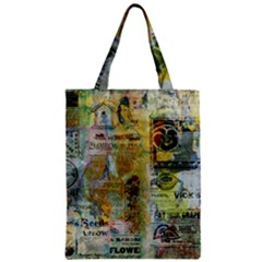 Old Newspaper And Gold Acryl Painting Collage Zipper Classic Tote Bag by EDDArt
