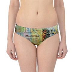 Old Newspaper And Gold Acryl Painting Collage Hipster Bikini Bottoms by EDDArt