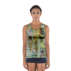 Old Newspaper And Gold Acryl Painting Collage Women s Sport Tank Top  by EDDArt