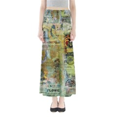 Old Newspaper And Gold Acryl Painting Collage Maxi Skirts by EDDArt