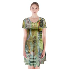Old Newspaper And Gold Acryl Painting Collage Short Sleeve V-neck Flare Dress by EDDArt