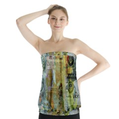 Old Newspaper And Gold Acryl Painting Collage Strapless Top by EDDArt