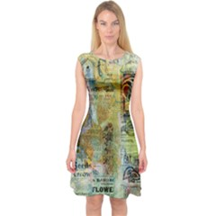 Old Newspaper And Gold Acryl Painting Collage Capsleeve Midi Dress