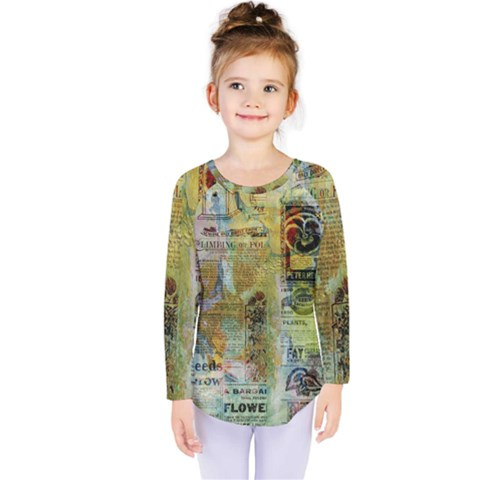 Old Newspaper And Gold Acryl Painting Collage Kids  Long Sleeve Tee by EDDArt